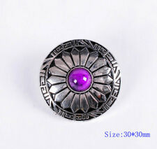 10X 30MM SUN FLOWER PURPLE TURQUOISE SLIVER SCREW BACK EQUESTRIAN DECOR CONCHOS