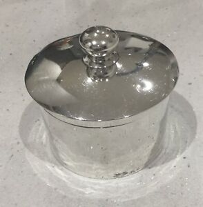 Antique Sterling Silver Trinket Desk Pot & Lid.Synyer & Beddoes. Bham 1912. 143g