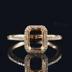 Emerald Cut 6x8MM Natural Diamond Ring Setting 14K Yellow Gold Size 8 Free ship