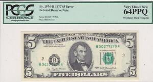 1977 $5 FRN Error Note PCGS Very Choice New 64PPQ Misaligned Black Overprint