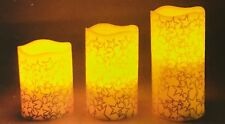 Set of 3 LED Flameless Gold Star Candles Christmas Candles Wedding Candles