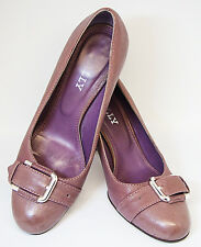 "BALLY SZ 37 EU 6.5 US PURPLE CLASSIC 3"" HEELS PUMPS SILVER BUCKLE ORNAMENT VAMP"