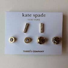 NWT KATE SPADE EARRINGS CLASSIC 3 PIECE STUD GOLD CLEAR WBRUB139 $88