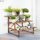 3 Tier Stepped Plant Stand Wood Garden Ladder Plant Pot Rack for Multiple Plants