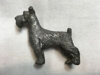 """RARE VINTAGE PEWTER AIREDALE TERRIER HIGH DETAIL MINIATURE DOG FIGURE 1.5""""h"""