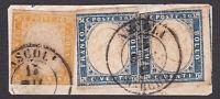 REGNO di SARDEGNA 80 c.+2x 20c. su frammento di lettera 1863 da Ascoli cv 1170€
