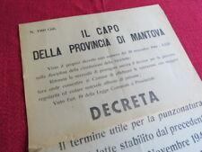 MANIFESTO WW2 RSI DISCIPLINA CIRCOLAZIONE BICICLETTE D'EPOCA MANTOVA PNF 1944-45