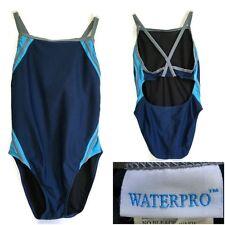 Waterpro Womens Competition Swimsuit Size 34 Keyhole Back Navy Aqua Gray 1-piece