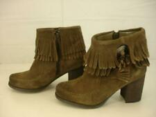 Womens 8.5 M Sbicca Vintage Collection Sound Boots Brown Suede Fringe Ankle Zip