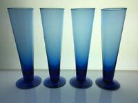Set of 4 Cobalt Blue Hand Blown Pilsner Beer Glasses cocktail---4 sets available