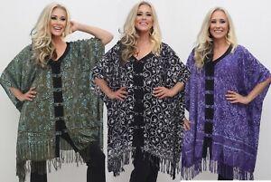 Bohemian Fringed Poncho Tunic Top - Gauzy Batik Design Now Size Up To 7X N385