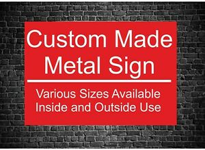 Personalised RED METAL Custom Made Sign Board Indoor And Outdoor Use