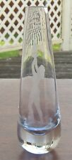 Holmegaard Glass Vase Intaglio Engraved Nude Olympic Flame Danish Crystal