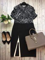 Lk Bennett Sz 8 Black And White Short Sleeve Smart Work Business Office Blouse