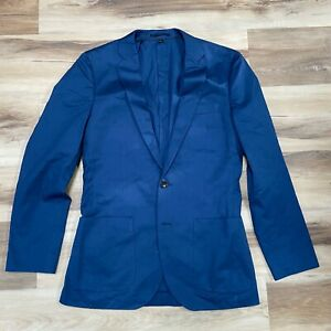 J. Crew Ludlow Bazer Sport Coat Italian Cotton Blue Mens 36R NEW