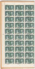 BAHAMAS:1937 GVI Coronation 1/2d green complete sheet (60)SG146 CTO
