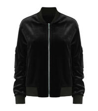 Velvet Women Bomber Jacket Vintage Army Biker Retro Zip Up Casual Coat