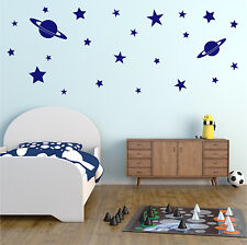 ROCKET Wall Sticker Boys Bedroom Space Stars Vinyl Art Decal Transfer x 24 AD276
