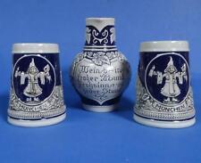 3 Piece Set of Gerz Ceramics - 2 Steins + 1 Pitcher / Stamped West Germany