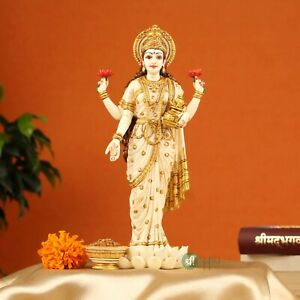 Lakshmi Standing Statue Hand Painted Marble Goddess Laxmi Statue 10 Inches
