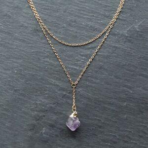Amethyst Crystal Gold Necklace, Raw Quartz, Birthstone Gift, Layer Chain, Boho