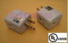 2 Pcs Pack - 3 Way Triple Outlet Power Cube Adapter 3-Prong UL Grounded Wal