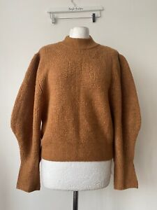 Topshop Mock Neck Knit Jumper Size S 8 - 10 Wide Fit Balloon Sleeves
