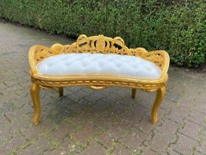 French Louis XVI Style Settee/Bench/Sofa White leather Free shipping