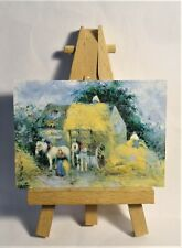 Hay Cart, Montfoucault ACEO Original PAINTING by Ray Dicken a Camille Pissarro