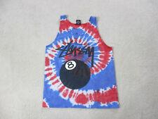 Stussy Shirt Adult Small Blue Red Tie Dye Eight Ball Tank Top Skater Skateboard