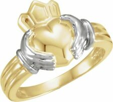 Ladies Claddagh Ring In 14K Yellow/White Gold