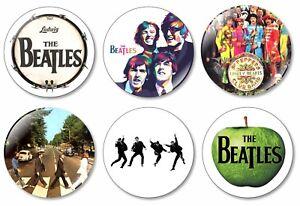 6 x The Beatles 32mm BUTTON PIN BADGES Music Paul John Ringo George Rock Band
