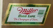 VINTAGE AMERICAN BEER LABEL - MILLERS BREWERY, HIGH LIFE BEER 1 QUART