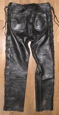 """fette """" MQP """" Damen- Schnür- LEDERJEANS / Biker- Lederhose in schwarz ca. Gr. 40"""