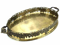 Vintage Oval Handled Serving Tray w/ Grapes Makeup Vanity Metal India