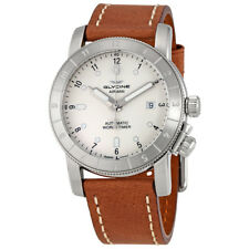 Glycine Airman Silver Dial Brown Leather Mens Watch GL0061