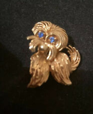 14k Gold Dog Pin Brooch Maltese, Yorkie Terrier Sapphire Eyes Beautiful