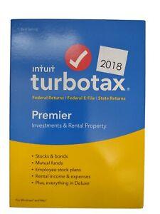2018 TurboTax Premier 2018 Federal + E-File State Window / Mac USA Sealed New