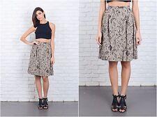 Vintage 80s Beige Retro Skirt Floral Leaf Print Knee length Large L