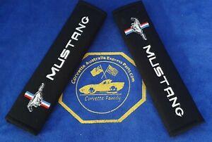 2pcs/set Universal Cotton Seat belt Shoulder Pads covers emblems for MUSTANG