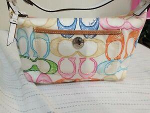 Coach Hampton Scribble Print Multicolor Canvas Top Handle Pouch Handbag Small