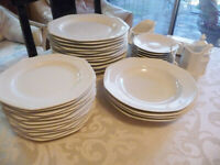 Set of 48 SAVOIR-VIVRE MAISON BLANCHE FINE CHINA DINNERWARE 12 dinner & salad