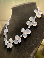 Vtg natural moonstone faceted beads, crystal & silver spacers, 925, wire strung
