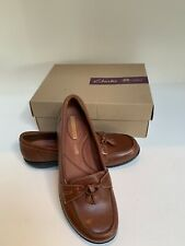Clarks Shoes Mules Size 8.5 M Women Brown Leather upper NEW