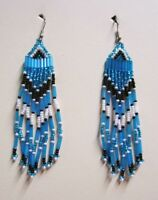 "Turquoise Black & White 3 1/2"" Native Style Seed Bead Dangle Earrings Made USA"