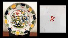 DELFT ASSIETTE  XVIII° - DÉCOR JAPON - MARQUE en ROUGE ARK  atelier A GREC ?