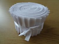 10, 25 OR 40 JELLY ROLL STRIPS 100% COTTON PATCHWORK FABRIC ~ WHITE PLAIN