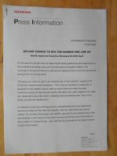 HONDA Approvato AUTO USATE ORIG 2005 UK MKT Press Release-BROCHURE