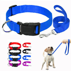 Nylon Dog Collar and Leash set for Small Large Dogs 3.9ft Dog Walking Leads XS-L