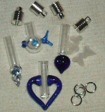 Blue Glass Vial Jewerly Pendants Fish, Hearts, Twist  free shipping
